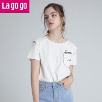【5折价93.5】Lagogo/拉谷谷2018夏季新款镂空珍珠装饰圆领T恤女HATT315A02