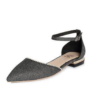 Tata/他她2018春专柜同款PU甜美珍珠尖头一字带女凉鞋S1416AK8