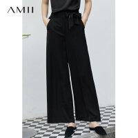 【到手价:182元】Amii极简法式显瘦空气裤女2019夏季高腰配腰带气质阔腿裤休闲长裤