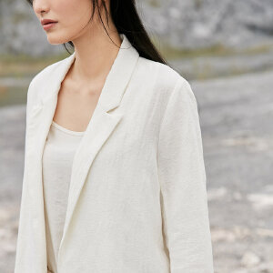[AMII东方极简] JII东方极简 2018春装女新款大码文艺bf插袋复古西装外套