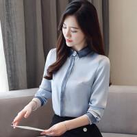 长袖蓝衬衫女2018秋装新款韩版宽松显瘦拼接立领职业雪纺上衣服潮