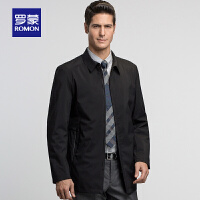 【3折到手价:228】Romon/罗蒙时尚中长款男士外套新款中青年商务翻领休闲夹克男