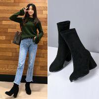 短靴女靴子春秋靴2018新款薄袜子鞋粗跟高跟弹力中筒瘦瘦靴袜靴冬