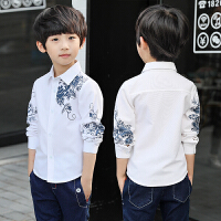 童装男童秋款衬衫2018新款中国风儿童长袖衬衫韩版中大童潮衬qg