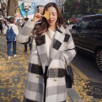 秋装毛呢外套女中长款2017新款韩版格子呢子羊绒大衣冬季韩国 黑白格子