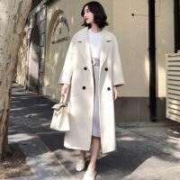 双面仿羊绒大衣女2018秋冬季新款上衣韩版中长款羊毛呢子毛呢外套女 米白色