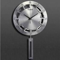 现代个性创意金属简约时尚欧式艺术静音客厅超大石英钟挂钟表 16英寸