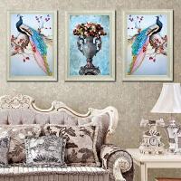 墙纸自粘墙贴欧式客厅沙发背景墙玄关过道现代北欧孔雀花瓶三联画