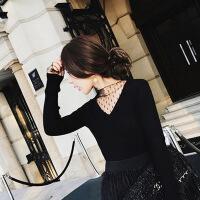 №【2019新款】年轻人穿的chic秋冬针织衫女性感加绒长袖打底毛衣网纱蕾丝拼接假两件上衣