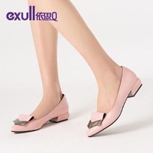 依思q新款春季单鞋时尚浅口休闲尖头百搭粗低跟女鞋