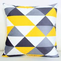 双面现代简约几何图案黄灰色抱枕靠枕客厅沙发样板房抱枕北欧靠垫