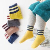 儿童袜子秋冬加厚保暖毛圈袜男女童中筒袜1-3-5-6-8岁棉袜4双 两杠加厚毛圈/4双装 各色一双