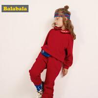 巴拉巴拉女童套装秋冬新款小童宝宝两件套儿童卫衣裤子加绒厚