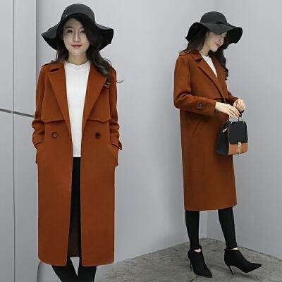 外套女中长款韩版2017新款秋冬学生宽松长款过膝毛呢大衣