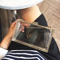 包包女迷你手拿包晚宴包宴会包女包链条包透明盒子包