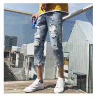2018夏季新款七分牛仔裤子男士破洞乞丐裤子潮流韩版学生帅气刮烂 图色