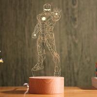 ?无限战争漫威3D钢铁侠小夜灯LED台灯USB灯床头灯卧室台灯生日礼物