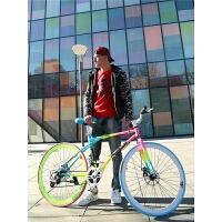 变速死飞自行车男公路赛车单车双碟刹实心胎细胎学生女荧光