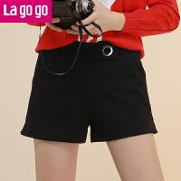 【618大促-每满100减50】Lagogo/拉谷谷2017冬季新款直筒纯色高腰短裤