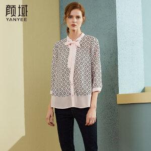 颜域品牌女装2018春新款衬粉色格子系带领蝴蝶结休闲气质衬衫衬衣