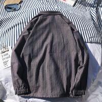 条纹衬衫男长袖宽松韩版学生b港风衬衣外套2018春季新款韩版外衣