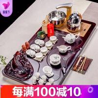 整套青瓷紫砂功夫茶具套装家用全自动电热磁炉立体实木茶盘茶道台品质保证 41件