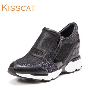 接吻猫新板鞋厚底内增高运动女鞋DA76190-51