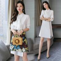 2018春装新款女装韩版时尚小香风套装裙两件套印花连衣裙子 BX801-1图片色 S