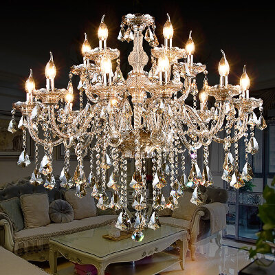 水晶吊灯客厅欧式大气卧室餐厅灯简约现代蜡烛水晶灯奢华大厅灯具n6v 时尚  漂亮