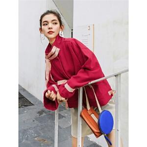 七格格春季红色外套女冬2019新款韩版宽松学生短款夹克工装棒球服
