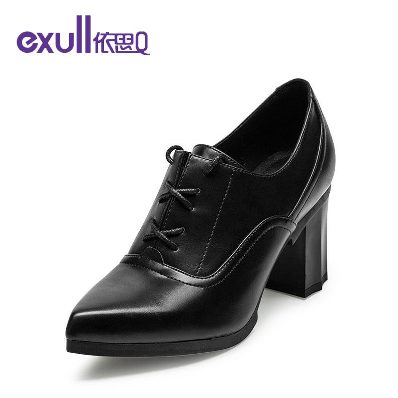 依思q秋季新款性感尖头高跟鞋粗跟舒适深口单鞋女鞋