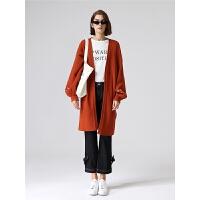 初语针织开衫女秋季新款字母绣花宽松气质灯笼袖毛衣外套女