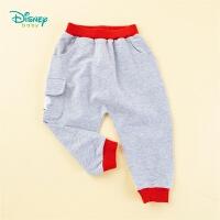 迪士尼Disney童装 男童长裤时尚撞色哈伦裤春季新款儿童纯棉裤子嘻哈风