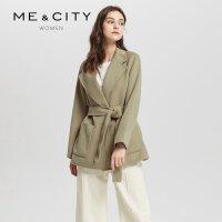 【2件1.5折价:239.9,25日0点可叠券】纯羊毛MECITY女韩版短款双面呢chic呢子收腰系带大衣
