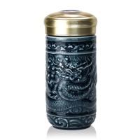 乾唐轩活瓷杯小尊龙随身杯单层390ml陶瓷便携带泡茶水杯子
