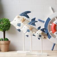 地中海风格装饰品摆件木鱼摆设木质家居做旧工艺品