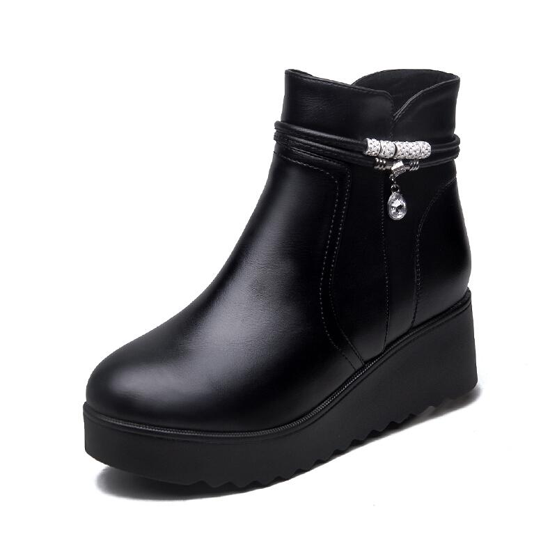 坡跟短靴女加绒冬季新款鞋子高跟鞋2018新款秋冬圆头厚底女单靴子