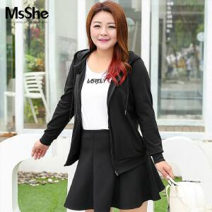 MsShe藏肉加大码女装2017新款秋装休闲运动风卫衣外套M1630248
