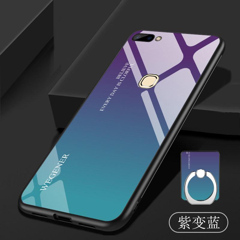 优品vivoX20手机壳步步高X20plus钢化玻璃保护套X20plusUD渐变全包软胶套壳镜面网红 钢化手机壳+送钢化膜+两用挂绳+同款指环