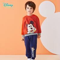 【2件3.5折到手价:90.3】迪士尼Disney童装 男童套装Q版卡通秋季新品米奇印花抓绒卫衣+休闲长裤2件套193
