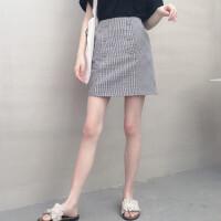 格子半身裙短裙女夏2018春夏新款韩版高腰包臀字半裙裤裙防走光