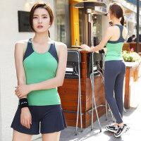 女士运动裤跑步显瘦瑜珈服韩版速干健身房紧身服瑜伽服套装女上衣背心美背
