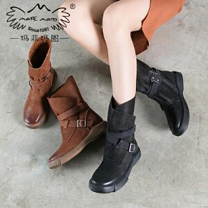 玛菲玛图重工款新款平底复古切尔西靴女真皮厚底皮带扣中筒靴009-41SF 季新品