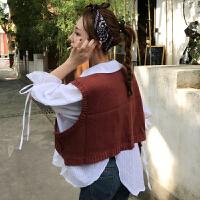 秋2018新款韩版针织背心马甲女宽松百搭显瘦套头学生短款上衣马夹
