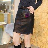 半身裙2018春季新款韩版修身显瘦带毛球PU皮包臀裙高腰短裙皮裙潮 黑色