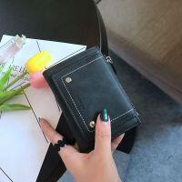 钱包女短款 多功能韩版时尚多卡位零钱小皮夹 复古钱夹女新款 神秘黑 F002S现货