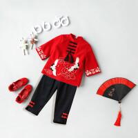 女童唐装宝宝过年礼服加厚喜庆红色女童中国风套装儿童洋气冬装