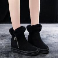 冬季百搭真皮侧拉链马丁靴女鞋平底雪地靴兔毛厚底内增高短筒靴女