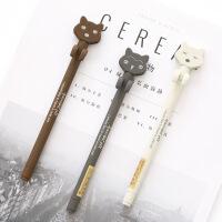 新品 ●萌宠小物0.38中性笔韩国可爱黑色水笔考试笔办公文具 颜色随机