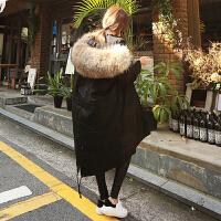 棉衣女中长款棉袄2018新款冬季韩版毛领羽绒加厚外套